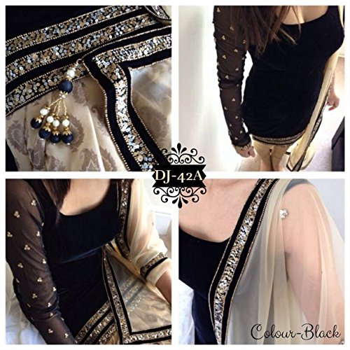Fkart Women\'s Velvet Salwar Suit Dress Material (FK-1022BLACK_BLACK)