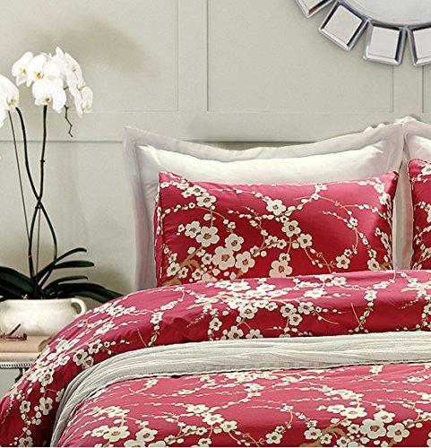Japanische Oriental Style Cherry Rot Blossom Floral Äste Print Steppdecke Bezug Fadendichte 300Baumwolle Bettwäsche 3-Teiliges Set, baumwolle, rot, King Size -
