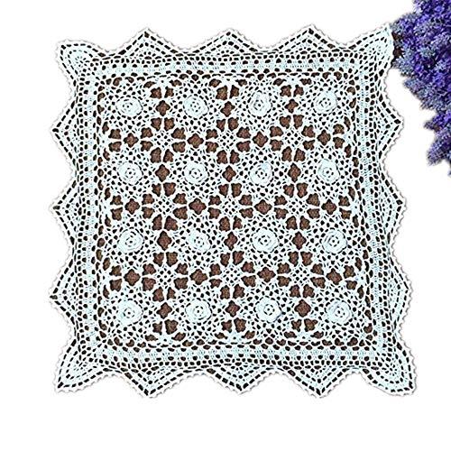 Yizunnu handgefertigt Häkel Baumwolle weiß Spitze Tischdecke Platzdeckchen Deckchen Spitzendeckchen, quadratisch, 49,8cm