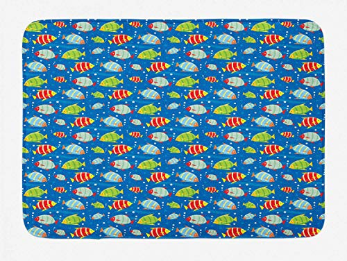 HLKPE Animal Bath Mat, Colorful Striped Cartoon Fishes Swimming in The Sea with Bubbles Aquatic Life Theme, Plush Bathroom Decor Mat with Non Slip Backing, 23.6 W X 15.7 L Inches, Multicolor