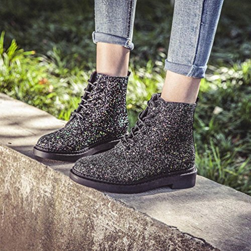 SOMESUN Women Martin Boots Ankle Shoes, Caviglia Donne Calzari Brillare Della Signora Caricamenti Del Sistema Casuali Martin Shoes Black