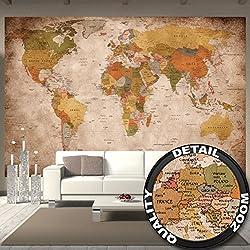 Foto mural Globo Atlas mapa mundial - Retro old school vintage (336 x 238 cm)