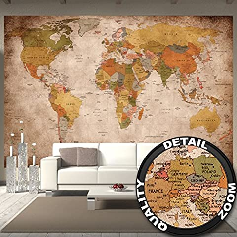 Wallpaper used look – wall picture decoration Globe Continents Atlas World Map Earth Geography retro old school vintage map I paperhanging Wallpaper poster wall decor by GREAT ART (132.3 Inch x 93.7 Inch) 336 cm x 238 cm