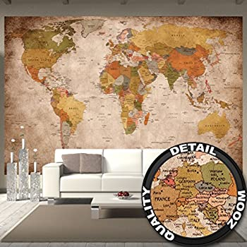 World map wallpaper mural amazon diy tools wallpaper map of the world used look wall picture decoration globe continents atlas world map earth geography retro old school vintage map i paperhanging gumiabroncs Images