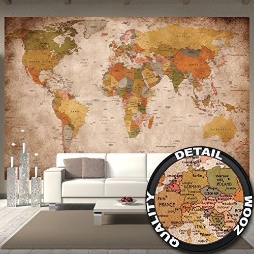Giant living room wall mural amazon wallpaper map of the world used look wall picture decoration globe continents atlas world map earth geography retro old school vintage map i paperhanging gumiabroncs Gallery