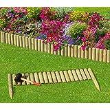 Gartenpirat Steckzaun 100 cm Zaunhöhe 20 cm aus Holz für Beeteinfassung Rasenkante