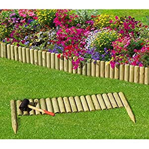 Gartenpirat bordure planter type demi rondins de bois for Bordure jardin demi rondin bois