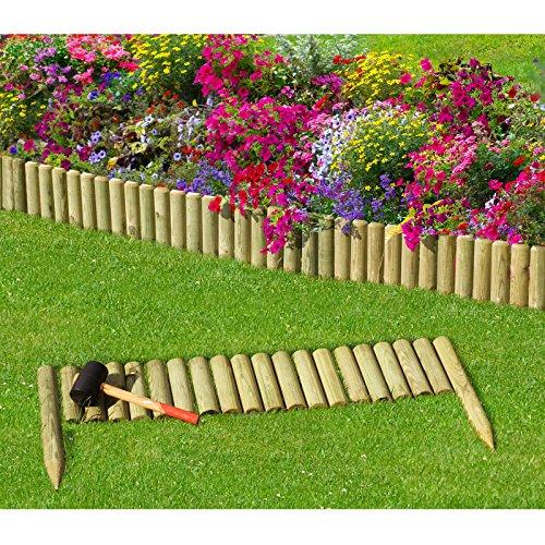 *Steckzaun 100 cm Zaunhöhe 20 cm aus Holz für Beeteinfassung Rasenkante von Gartenpirat®*