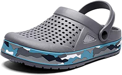 Men's Clogs Lightweight Breathable Mesh Slippers Mules Sandals for Garden,Kitchen,Beach Grey