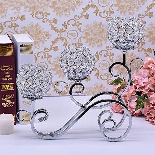 Everbon Set mit 10 Kristall-Kerzenleuchtern für Hochzeiten, Tischdekorationen, dekorative Kerzenhalter, goldfarbene Kerzenleuchter, Party, Heimdekoration Silver Candelabra -