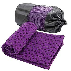 DBPower Tapis de yoga antidérapant avec fleurs en silicone et son sac de transport en filet Violet 1,82x 0,60m