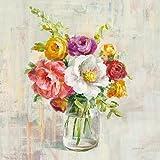 Eurographics Leinwandbild, Summer Treasures I, Stillleben, Vase mit Bunten Blumen, Gemälde, Bunt, 55x55x3,5 cm