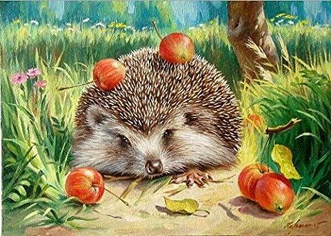 YEESAM ART Neuerscheinungen Malen nach Zahlen für Erwachsene Kinder - delikat Dorn Igel Hedgehog 16 * 20 Zoll Leinen Segeltuch - DIY ölgemälde ölfarben Weihnachten Geschenke