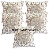 Stylo Culture Indian Throw Pillows for Beds Oro Impreso Floral Acento Almohada Fundas de cojín Algodón Cuadrado Tradicional Mandala Ombre 40x40 cm Fundas de cojín (Juego de 5 Piezas)