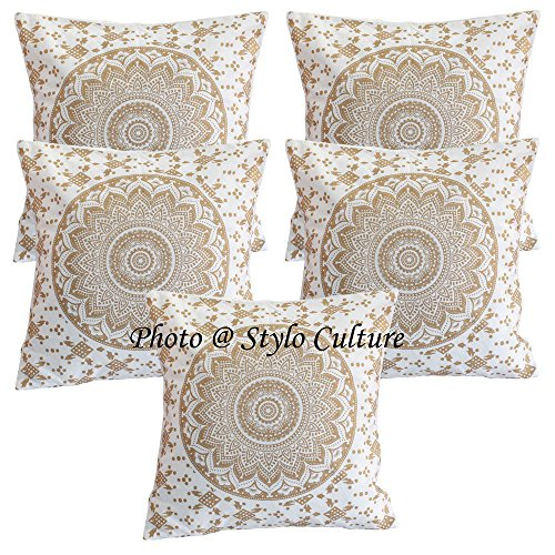 Stylo Culture Indian Throw Pillows for Beds Oro Impreso