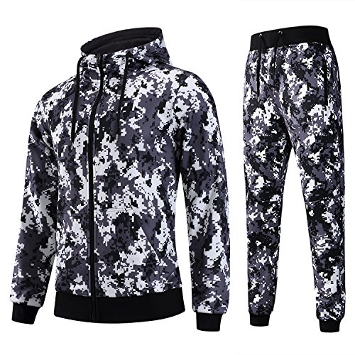 AIRAVATA Herren Trainingsanzug Sportbekleidung Reißverschluss Kapuzenpullis Jogging Gym Sweatsuit (Hose Sweatsuit)
