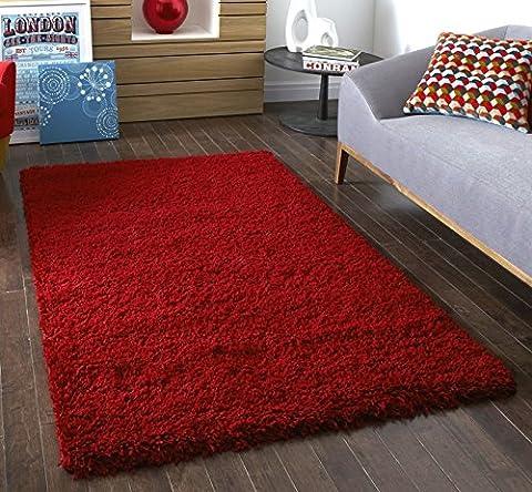 Textures moderne salon Tapis Shaggy Épais, rouge–60x