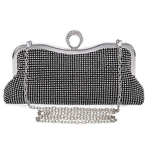 EULovelyPrice Damen Faux Perle Cascading Bead Strass Abend Handtasche (Schwarz) -