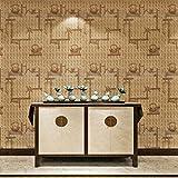 HANMERO® Papel pintado autoadhesivo imitación textura tejida para muebles vinilos pegatinas de pared para Cocina / escritorio /puerta/armario, color amarillo