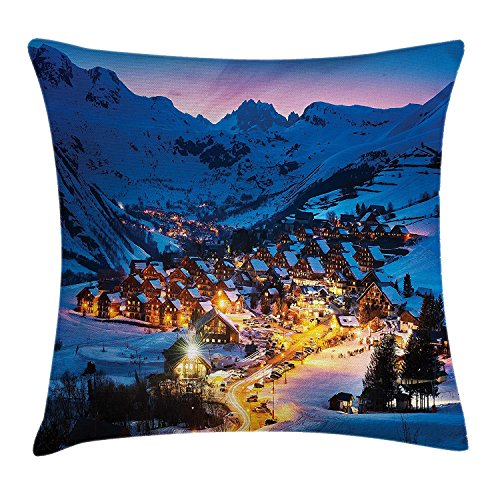 XIAOYI Farm House Decor Throw Pillow Cushion Cover by, Evening in French Alps in Winter Frozen Lands Province Dusk Panorama Art, Decorative Square Accent Pillow Case, 18 X 18 Inches, Blue Orange -