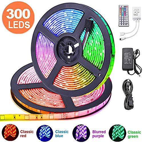 LED Streifen 10m, kdorrku Flexibel RGB selbstklebende Dimmable LED Stripes LED Lichtband SMD 5050 12V 32.8ft LED Bänder mit 44 Schlüsseln IR Fernbedienung für Vereine/Häuser/Hotels/im Freien