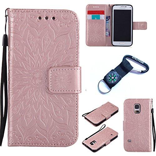 Preisvergleich Produktbild für Samsung Galaxy S5 mini Hülle Blume Premium PU Leder Schutzhülle für Samsung Galaxy S5 mini Bookstyle Tasche Schale PU Case mit Standfunktion+Outdoor Kompass Schlüsselanhänge) Q