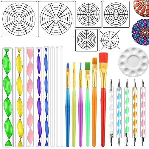 Kinolieb Mandala Rock Painting Tools - Mandala Dotting Stencils Template Set (S+M+L) 8/12/16 Segment, Acrylic Rods, Double Sided Dotting Tools, Brushes and Paint Tray (12 Tray Paint)