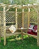 MIO-GIARDINO Milton - Pergola angolare in legno da giardino con 2 panchine e tavolino, misure esterne: 1.94m x 1.94m x 1.84m (H) - tralicci sui lati …