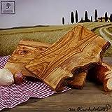 Schneidebrett, Kräuterbrett, Frühstuecksbrett, Olivenholz, Holz, 30cm, eine Seite naturbelassen