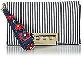 ZAC Zac Posen Earthette Clutch-Striped with Floral Applique on Wristlet, Navy