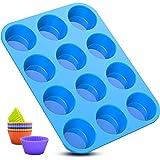 Moulle à muffin,moule silicone patisserie 12 cannelés mini cupcakes moules lot avec effet antiadhésif,réutilisables,pour savo