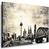 Julia-Art Leinwandbilder Skyline - Bild Köln - Wandbild fertig gerahmt - 120 mal 80 cm XXL Kunstdruck - Stadt Leinwand Motive - verschiedene Varianten Ko-01-20