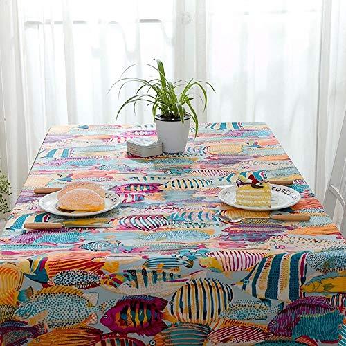 Be82aene Baumwolle Dickes farbiges tropisches Fisch-Marine-Abdeckungs-Tuch-aktives Tee-Tischtuch-Tischtuch Tischdecke Clips im Freien (Color : Orange, Size : 140x240) -