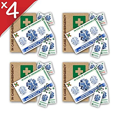 FAMILY BUNDLE -- FOUR Standard In Case of Emergency (I.C.E.) Card Packs with Key Rings & Stickers from ICEcard. Wallet size card with WRITABLE reverse to carry Emergency Contact & Medical / Medication Information. from ICEcard