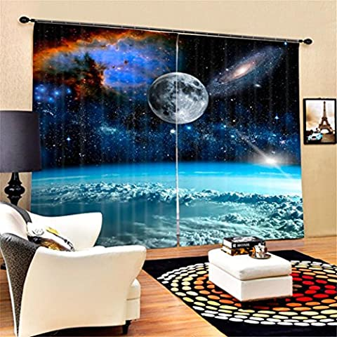 KKLL 3D Individuality Space Nebula Visual space Print Polyester Fabrics Blackout Drape Noise Reducing Solid Thermal Curtains Home Decor Living room Bedroom Window Drapes , wide 2.64x high 1.6