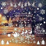 WELLXUNK 192 Schneeflocken Deko, Fensteraufkleber Weihnachten Fenstersticker PVC...