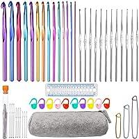 Sweieoni Crochets Set 50 Pièces Aiguille à Crochet Crochets en Aluminium Tricot Outils Crochet Knit Needle Crochets…