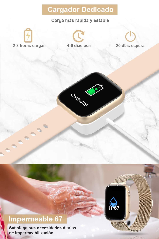 BANLVS Smartwatch, 1.4 Inch Reloj Inteligente IP67 con Pulsómetro Presión Arterial, Monitor de Sueño Podómetro Contador de Caloría, Smartwatch Mujer Reloj Inteligente para Hombre Mujer Niños 7