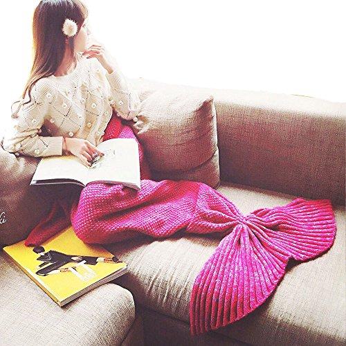 Meerjungfrau Schwanz Decke Strickmuster für Geschenk für Erwachsene 80store Pink