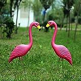Decoraciones de jardín Vivid rosa Flamingo, 1par de pájaro figura decorativa para jardín estanque decoración del partido