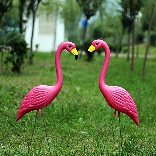 Pack de 2gran plástico Simulación Flamingo jardín Patio césped estanque adornos Estatua Escultura Figura decorativa de pájaro, Type_A
