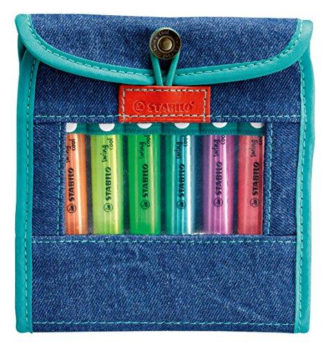 Textmarker - STABILO swing cool - 8er Jeans-Etui - mit 8 verschiedenen Farben