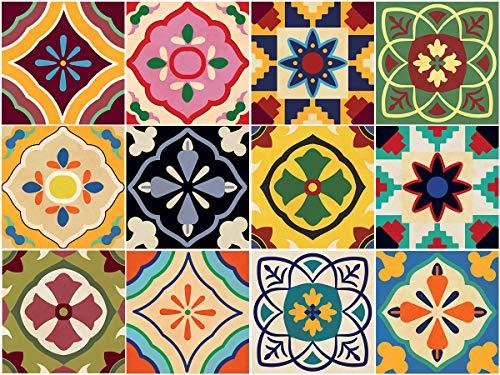 Sirface Talavera (Tile Aufkleber-Fliesenaufkleber Aufkleber Set für Küche und Badezimmer-24Stück-Verschiedene Größen erhältlich, 4x4 inches | 10x10 cm