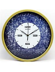 Marco de oro de creativa salón pastoral Relojes de pared de 14 pulgadas de silencio dormitorio reloj reloj restaurante estrellado