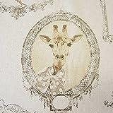 Stoff Meter Baumwolle beige Bilderrahmen Giraffe Mops Hund