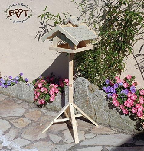 vogelhaus mit ständer,groß,mit Nistkasten + BEL-X-VONI5-MS-grau002 Robustes, stabiles wetterfestes PREMIUM Vogelhaus VOGELFUTTERHAUS + Nistkasten 100% KOMBI MIT NISTHILFE für Vögel KOMPLETT mit Ständer wetterfest lasiert, FUTTERHAUS für Vögel, WINTERFEST - MIT FUTTERSCHACHT Futtervorrat, Vogelfutter-Station Farbe grau hellgrau lichtgrau taupe / natur NEU, MIT TIEFEM WETTERSCHUTZ-DACH für trockenes Futter, Schreinerarbeit aus Vollholz