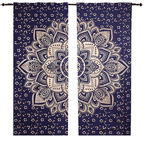 Blau Golden Big Blume Mandala Tapisserie Vorhänge, Boho Vorhänge, Vorhang Set Wandbehang Boho Set, Drapes, Mandala, indische Vorhänge Mandala Wandbehang Fenster Behandlung Door Hanging, 82Set 2 - Rod Vorhang Hanging