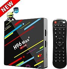 H96 Max+ TV Box Android 8.1 mit RK3328 Quad-Core 64 Bits CPU 4GB RAM 64GB ROM TV Box mit 4K Ultra HD H.265 Ethernet 10M/100M 2.4GHz/5GHz Dual Wifi Bluetooth 4.0