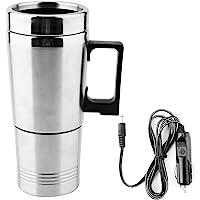 Bouilloire de voyage, 500ML bouilloire électrique de voiture tasse à café en acier inoxydable Thermos thermique chauffe…
