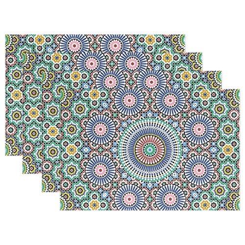 LIANCHENYI Bunter, Traditioneller Arabisch Kreis hitzebeständig Platzsets, Polyester Platzset Tischset für Küche Esszimmer Set von 4 -